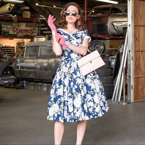 Unique Vintage 1950's Style Waldorf Pleated Dress